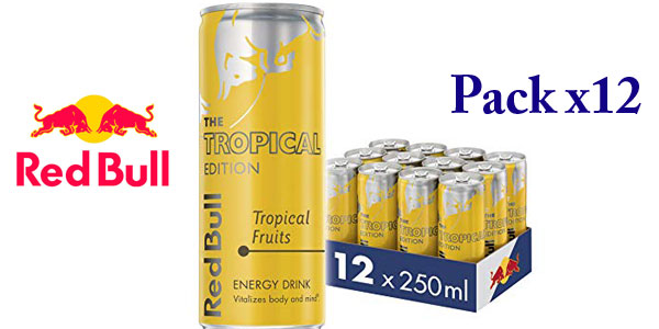 Pack x12 Latas Red Bull Tropical Bebida Energética x250 ml/ud barato en Amazon