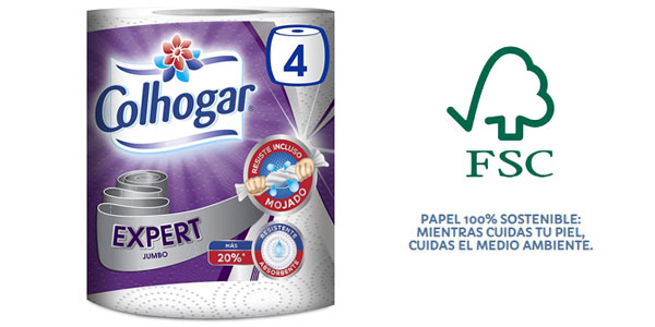 Pack x4 Papel Cocina Colhogar Expert Jumbo chollo en Amazon