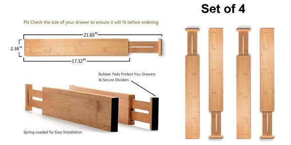 Pack x4 separadores organizadores de cajón Barbieya Kitchen Drawer barato en Amazon