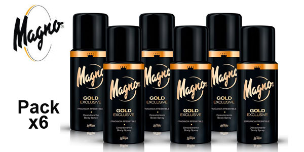 Pack x6 Desodorante Body Spray Magno Gold Exclusive x 150 ml/ud barato en Amazon