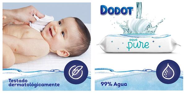 Pack x18 paquetes Toallitas Dodot Aqua Pure para bebé chollo en Amazon