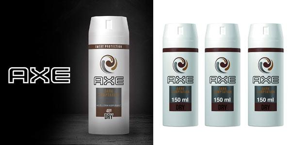 Pack de 3 desodorantes antitranspirantes Axe Dark Temptation baratos en Amazon