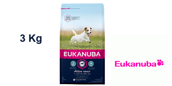 Paquete EUKANUBA Activ Adult 3 kg razas pequeñas barato en Amazon