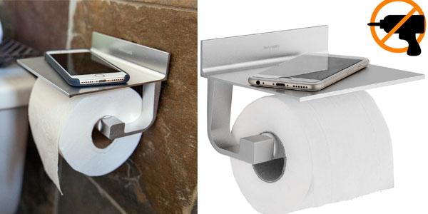 Portarrollo de papel higiénico autoadhesivo con soporte para smartphone barato en Amazon