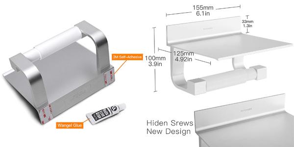 Portarrollo de papel higiénico autoadhesivo con soporte para smartphone chollo en Amazon