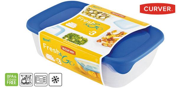 Set de 3 recipientes herméticos Curver Fresh & Go barato en Amazon
