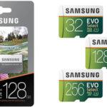 Tarjetas de memoria Samsung EVO Select microSDXC de 32/64/128/256/512 GB