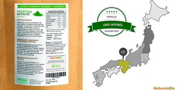 Té verde matcha ecológico NaturaleBio en polvo (200 g) barato