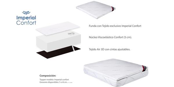 Topper viscoelástico Imperial Confort de 150 x 190 chollazo en Amazon