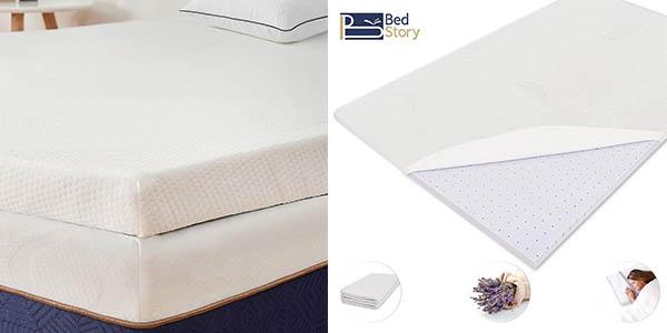 topper viscoelástico para colchón BedStory relación calidad-precio estupenda