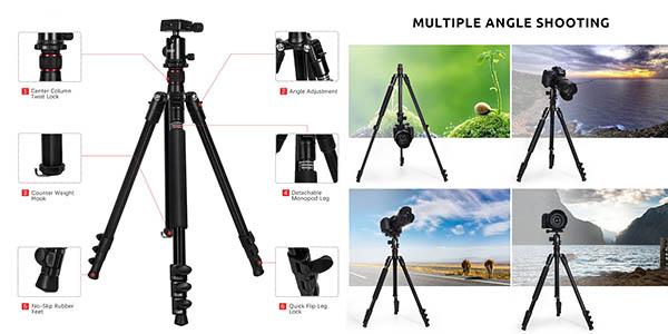 trípode de viaje para fotografía amateur con código descuento en Amazon
