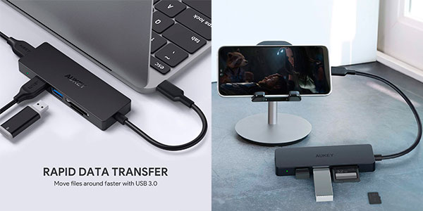 Adaptador Hub 3 en 1 Aukey USB-C con lector de tarjetas SD y Micro SD barato