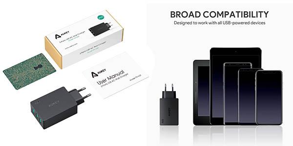 Aukey cargador USB con 3 dispositivos y cupón descuento
