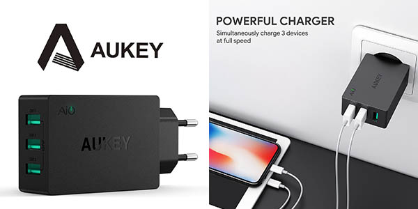 Aukey cargador USB triple carga 2,4 A barato