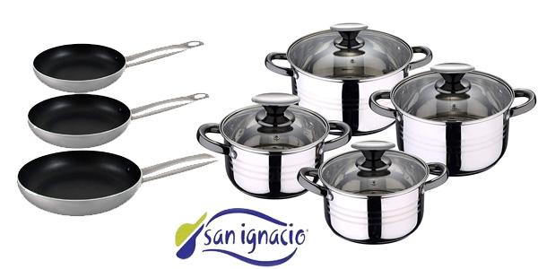 Batería de cocina 11 piezas San Ignacio PK1132 con sartenes de 18/20/24 cm barata en Amazon