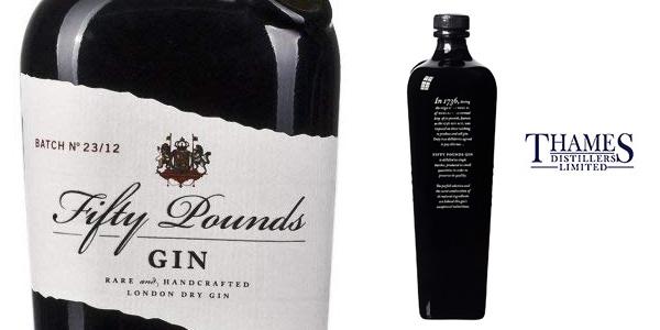 Botella de Ginebra Fifty Pounds London Dry Gin de 70 cl barata en Amazon