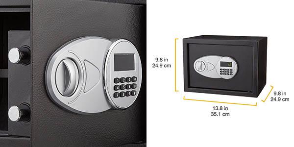 caja fuerte AmazonBasics con cerradura electrónica y llaves de relación calidad-precio estupenda