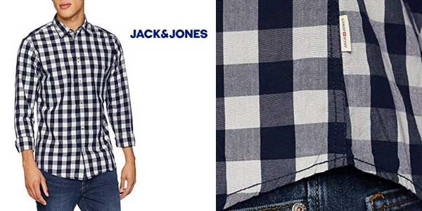 Camisa estampada a cuadros JACK & JONES Jjegingham Shirt chollo en Amazon