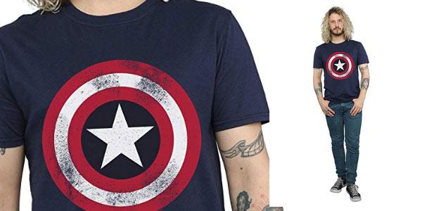 Camiseta Capitán América Disstressed Shield oferta en Amazon