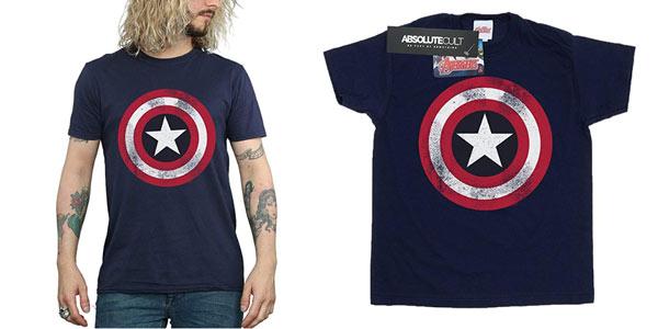 Camiseta Capitán América Disstressed Shield rebajada en Amazon