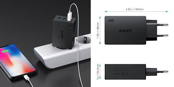 cargador Aukey 3 USB carga rápida oferta