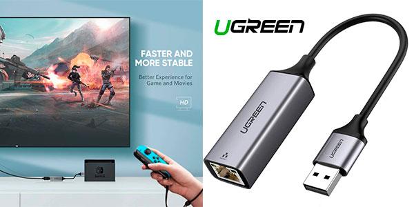 Chollo Adaptador de red Ugreen USB 3.0 a Ethernet Gigabit para Switch