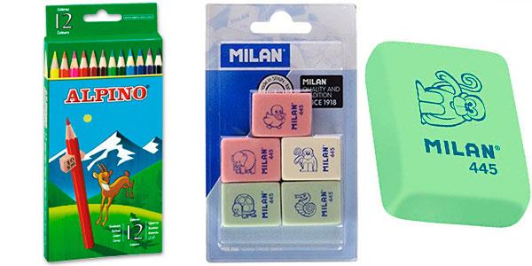Chollo Pack 12 Lápices de colores Alpino 654 + 5 Gomas de borrar Milan