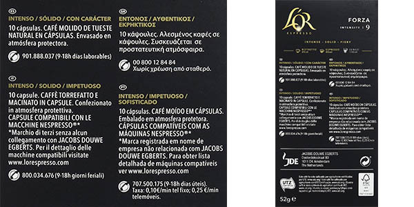 L'Or Espresso Forza cápsulas de café intensidad alta chollo