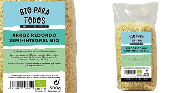 Pack x10 Paquetes Bio para todos Arroz Redondo Semi-Integral de 500 gr/ud chollo en Amazon