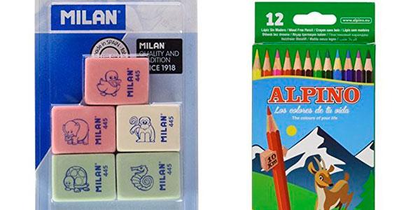 Pack 12 Lápices de colores Alpino 654 + 5 Gomas de borrar Milan barato