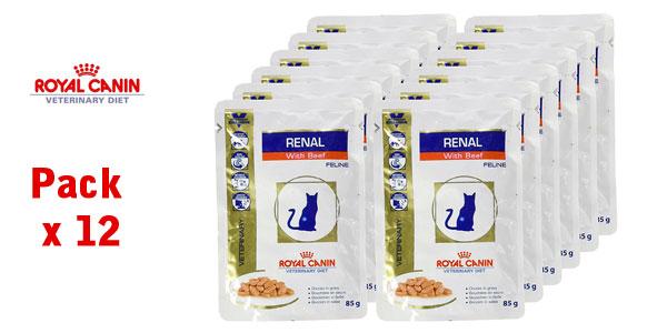 Pack x12 Sobres de Bocaditos de Ternera en Salsa Royal Canin para gatos a Dieta por insuficiencia Renal barato en Amazon