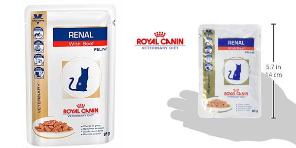 Pack x12 Sobres de Bocaditos de Ternera en Salsa Royal Canin para gatos a Dieta por insuficiencia Renal chollo en Amazon