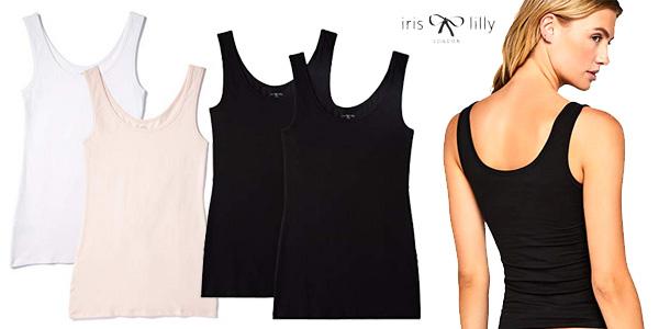 Pack 2 camisetas tirantes algodón Iris & Lilly para mujer (Varios modelos) chollazo en Amazon