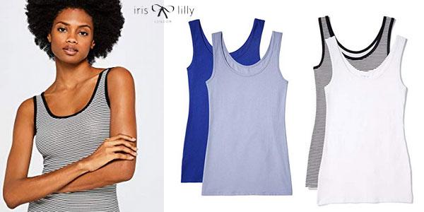 Pack 2 camisetas tirantes algodón Iris & Lilly para mujer (Varios modelos) chollo en Amazon