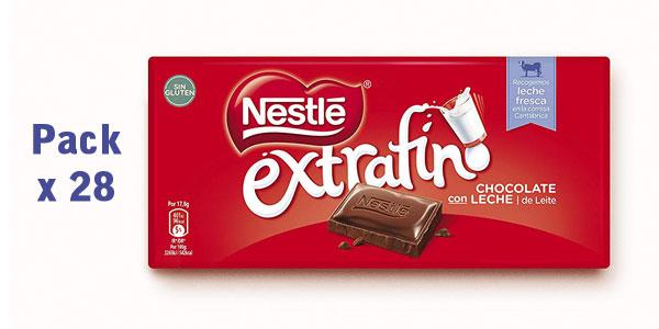 Pack x28 tabletas de chocolate con leche Nestlé Extrafino de 125 gr/ud barato en Amazon