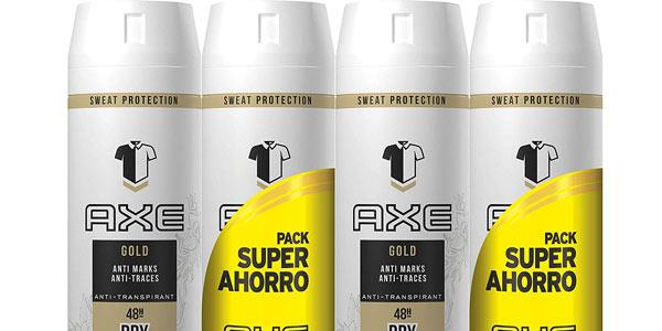 Pack de 4 botes de desodorante antitranspirante Axe Gold Blanco en oferta en Amazon