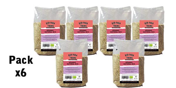 Pack x6 Bolsas de Sésamo Natural Bio para Todos 500 g/ud barato en Amazon