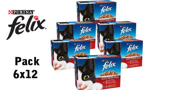 Pack x72 Sobres Purina Felix en gelatina de 100 gr/ud barato en Amazon