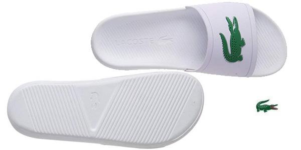 Sandalias Lacoste Croco Slide 119 blancas para hombre chollo en Amazon