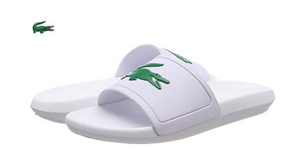 Sandalias Lacoste Croco Slide 119 blancas para hombre baratas en Amazon
