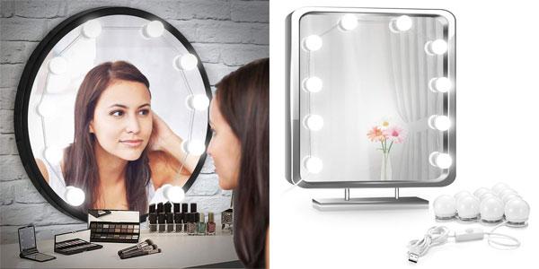 Set de 10 bombillas LED de brillo ajustable EleLight para espejo de tocador barato en Amazon