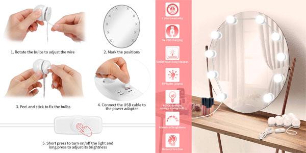 Set de 10 bombillas LED de brillo ajustable EleLight para espejo de tocador chollo en Amazon