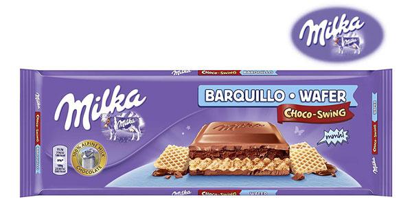 Tableta de chocolate con leche rellena de galleta Milka Choco-Swing de 300 gr barata en Amazon