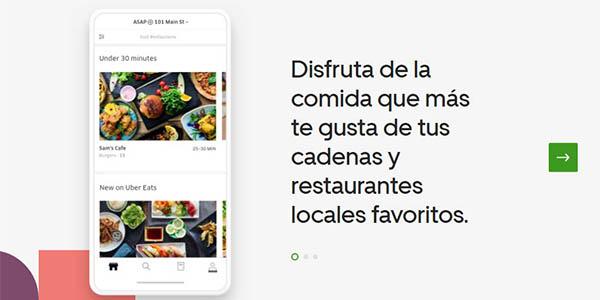 Uber Eats promoción envío gratis pedido comida a domicilio