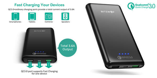 Batería externa BlitzWolf de 10.000 mAh Quick Charge 3.0 barata en Amazon