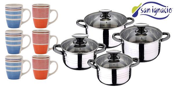 Batería de cocina de 8 piezas San Ignacio Pk1175 + set 6 mugs multicolor barato en Amazon