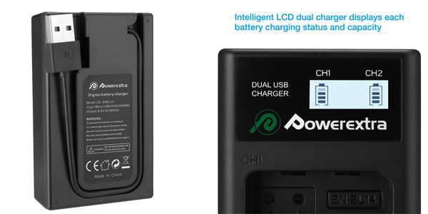 Powerextra Batería Nikon EN EL14 y EN-EL14a de Repuesto con Cargador Inteligente chollazo en Amazon