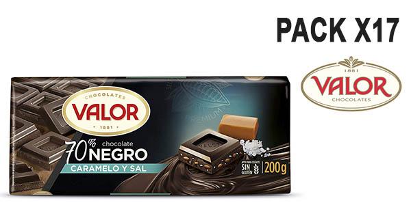 chocolate negro Valor con caramelo y sal pack ahorro