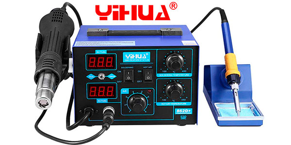 Chollo Estación Yihua 862D+ de soldadura electrónica 2 en 1
