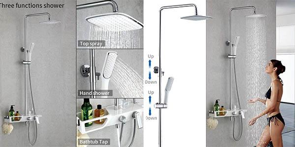 columna de ducha Homelody con bandeja para geles con cupón descuento en Amazon